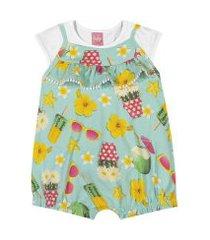 conjunto blusa + macaquinho kinha em meia malha e cotton alto veráo verde piscina