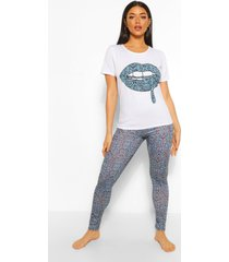 pyjama set met leggings en lippen, blauw