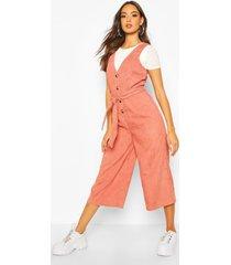 cord button front culotte pinafore jumpsuit, terracotta