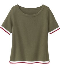 sportief gebreid shirt van biologisch katoen, olijfgroen 44/46