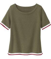 sportief gebreid shirt van biologisch katoen, olijfgroen 36/38