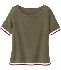 sportief gebreid shirt van biologisch katoen, oliv 40/42