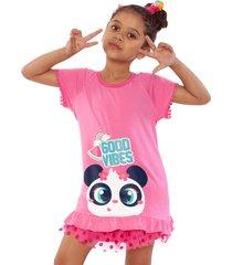 pijama curto blusa e shorts puket panda tutu camuflado com patches