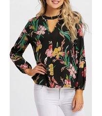 flower oil painting full sleeve blouse