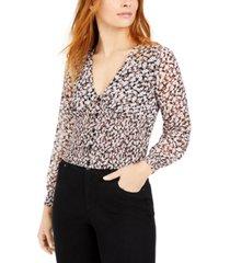 bar iii floral-print smocked-waist top, created for macy's