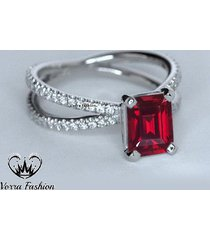criss cross engagement ring in rectangular shape red garnet pure sterling silver