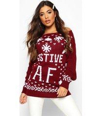 festive af slogan christmas sweater, wine