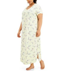 charter club plus size printed cotton short sleeve nightgown, created for macy's