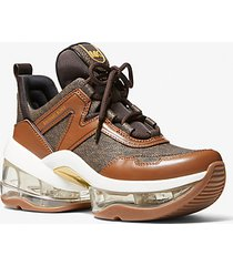 mk sneaker olympia extreme in pelle con logo - cuoio (marrone) - michael kors
