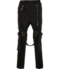 mastermind japan buckle strap trousers - black