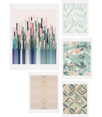 deny designs matcha blush five-piece gallery wall art print set, size one size - coral
