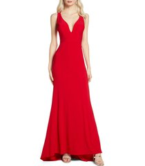 women's mac duggal v-neck jersey gown with train