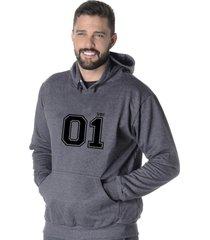 moletom blusão flanelado suffix fechado liso com capuz bolso canguru cinza escuro chumbo estampa 01
