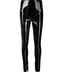 gcds faux patent leather leggings - black