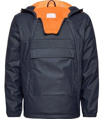 functional anorak in recycled polye outerwear jackets anoraks blauw knowledge cotton apparel