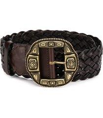 etro woven statement buckle belt - brown