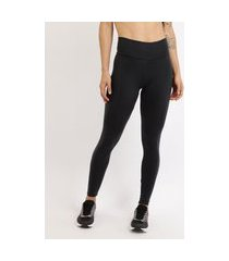 calça legging feminina esportiva ace básica cintura alta cós largo preta