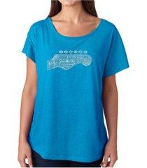 la pop art women's dolman cut word art shirt - guitar head