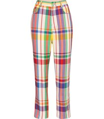 area crystal-embellished plaid straight-leg trousers - neutrals