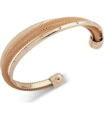anne klein gold-tone crystal & chain mesh cuff bracelet, created for macy's