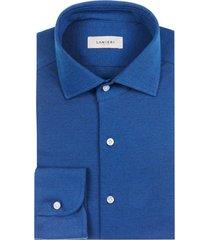 camicia da uomo su misura, maglificio maggia, blu elettrico piquet cotone, quattro stagioni | lanieri