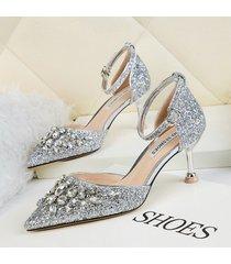 mujer sandalias zapatos de tacon con lentejuela fashion-cool-plateado