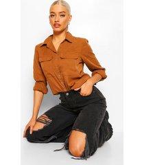 blouse met utility zakken en drukknoopjes, camel