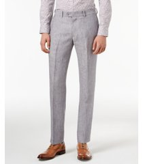 closeout! bar iii light gray chambray slim-fit pants, created for macy's