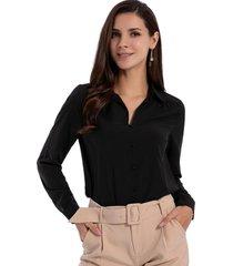 blusa básica botones negro nicopoly