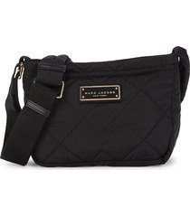 marc jacobs women's quilted logo crossbody bag - black