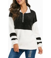 half zip faux fur colorblock longline sweatshirt