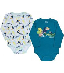 pack 2 bodys tropical forest azul bambino