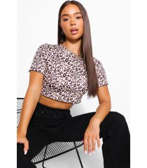 leopard print crop top, tan