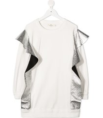 andorine metallic detail sweater dress - white