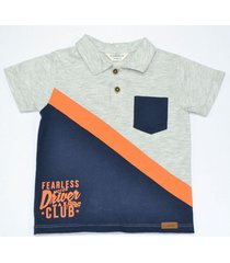 camiseta polo manga corta, con bloque y bordado en frente