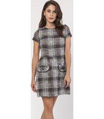sukienka taliowana z tweedu