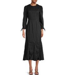 rhode women's abby puff-sleeve cotton dress - black - size 4