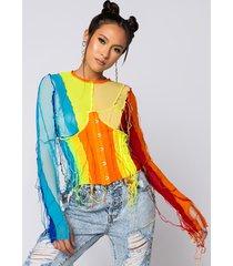 akira keep it cool mesh string detail long sleeve top