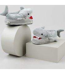 pantufa infantil palomino tubarão em pelúcia cinza