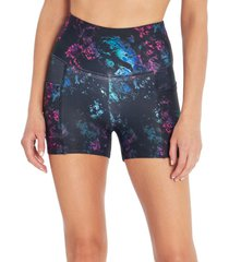 marika women's sky yoga shorties - crystal dye black medium spandex
