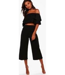 strapless top met 2 lagen en culotte set, zwart