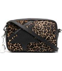 golden goose leopard print star patch shoulder bag - black