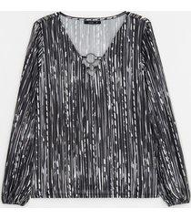 blusa manga longa decote v com argolas estampa listrada