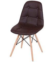 cadeira eames botonê com base em madeira 43x44cm marrom