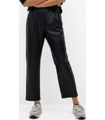 darts faux-leather pants