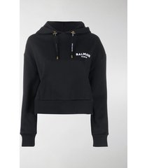 balmain logo-print cropped hoodie