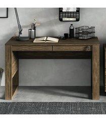 mesa escrivaninha 2 gavetas com chave me4144 nogal - tecno mobili
