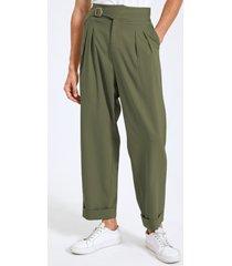 hombre moda bucklet diseño pierna ancha cintura alta casual gurkha pantalones