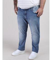 calça jeans masculina plus size slim azul médio