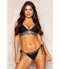 premium mix & match jewelled cross back bikini top, black